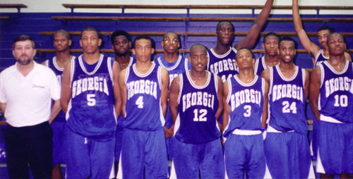 1995 Georgia Stars - 16U YBOA National Champions, YBOA State Champions Greater Southeastern Shootout Champions Cherokee Shootout Champion, Columbia South Florence Champion Augusta Classic Champions East Cobb INV. Champion Marietta Shootout 3rd Place Spartanburg INV. 5th Place Front Row L to R: Coach Norman Parker, Daryon Calhoun, Leon Berry, T.J. Vines, Johnny Pritchett, D.A. Layne, William Avery. Back Row L to R: Ray Mayfield, Fred Jackson, Adrian Crawford, George Mazek, Carlos Singleton, Mark Addamson