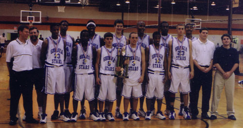 2000 Georgia Stars ~ 16U ~ 42-10 AAU State Champions Georgia Classic - Champions Bob Gibbons- 2nd Place Marietta Magic - Champions State Tournment- Champions Front Row L to R: Coach Dan Searl, Wayne Arnold, Jarious Clark, Brian Watts, Ross Alacqua, Derrick Broom, CoachTodd McGuire, Matt Linick.Back Row L to R: Coach Norman Parker, Quentin Moses, Stephen Warner, Kevin Warzynski, Chris Ellis, Rashun Bryant, Julian Jenkins.