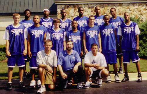 2001 Georgia Stars 17 & Under - 40-15 National Championship Medalist Front Row L to R: Coach Dan Searl, Coach Norman Parker, Coach Brian Domelick. Second Row L to R: Derrick Broom, Marlon Bussey, Matt Causey, Herman Favor, Kevin Kruger, Keyon Boyd, Wayne Arnold. Third Row L to R: Stephen Warner, Rashun (Rome) Bryant, Brent Petway, Calvin Roland, Chris Ellis, Quentin Moses.